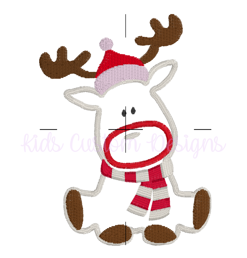 Christmas Reindeer Embroidery Appliqué Design