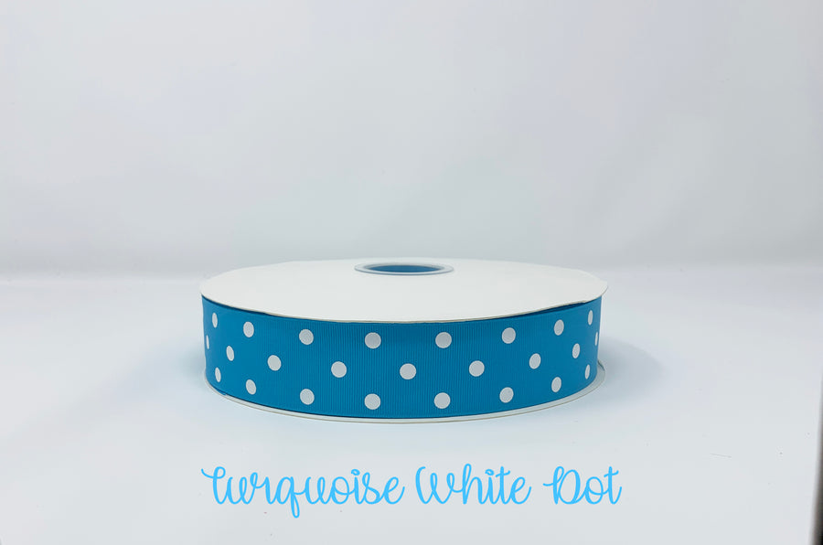 Grosgrain Ribbon Polka Dot Turquoise with White Dots (W: 1-1/2 inch | 100 yards)