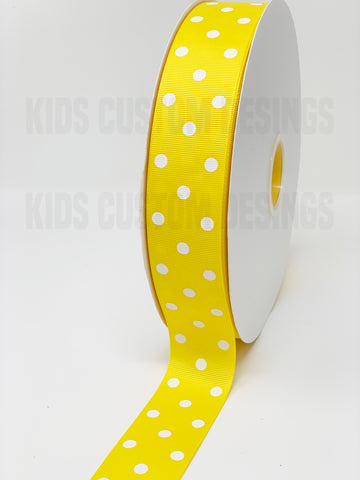 Grosgrain Ribbon Polka Dot Yellow with White Dots (W: 1-1/2 inch | 100 yards)