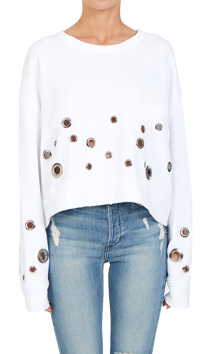 Black Orchid Cropped Eyelet Sweatshirt