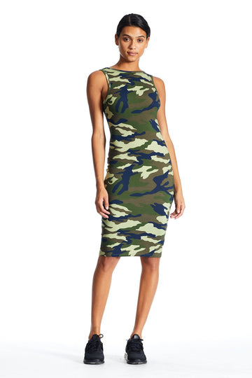 KENDALL & KYLIE CAMO SLEEVELESS DRESS