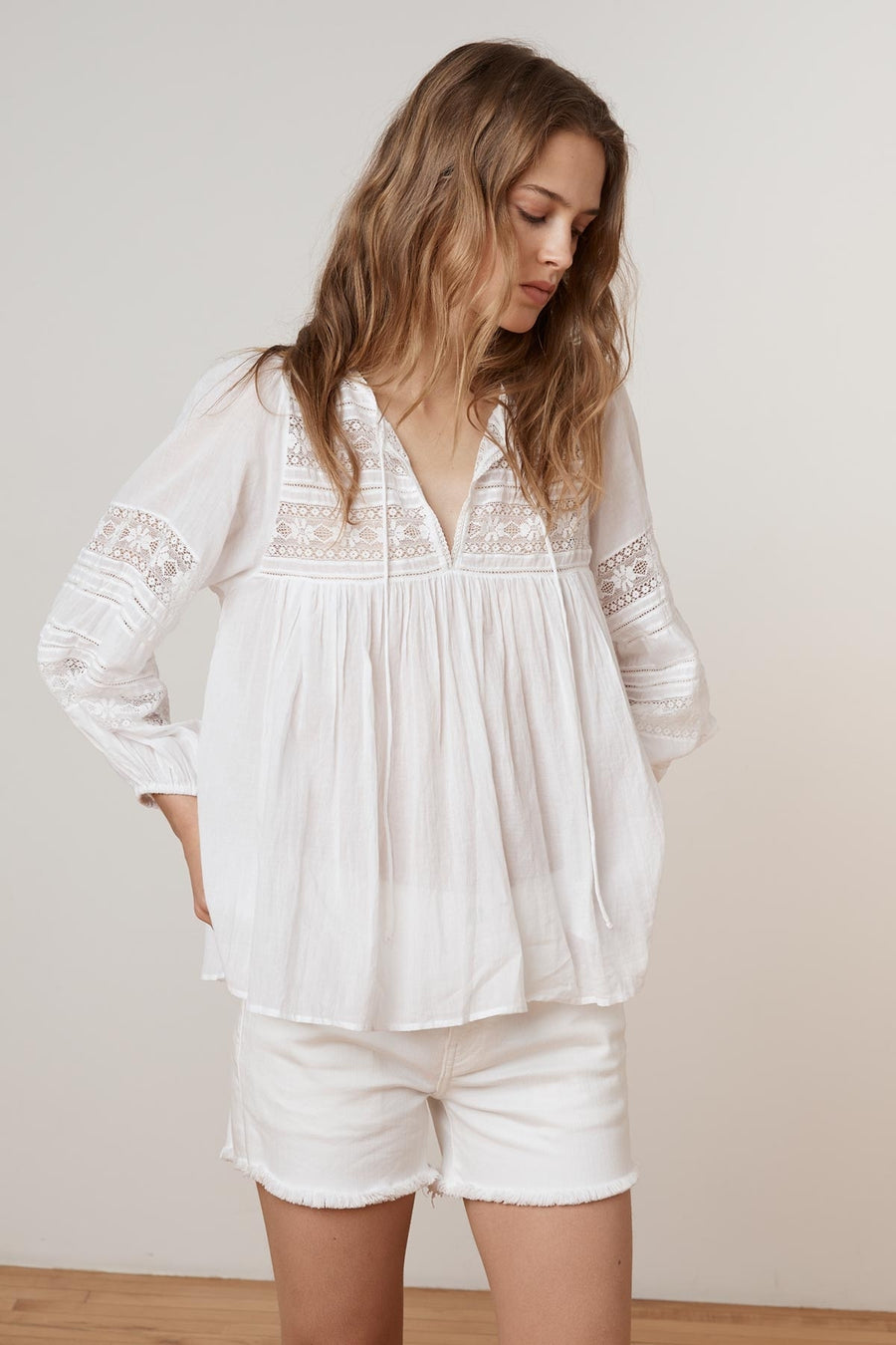 VELVET EVIE COTTON LACE PEASANT TOP