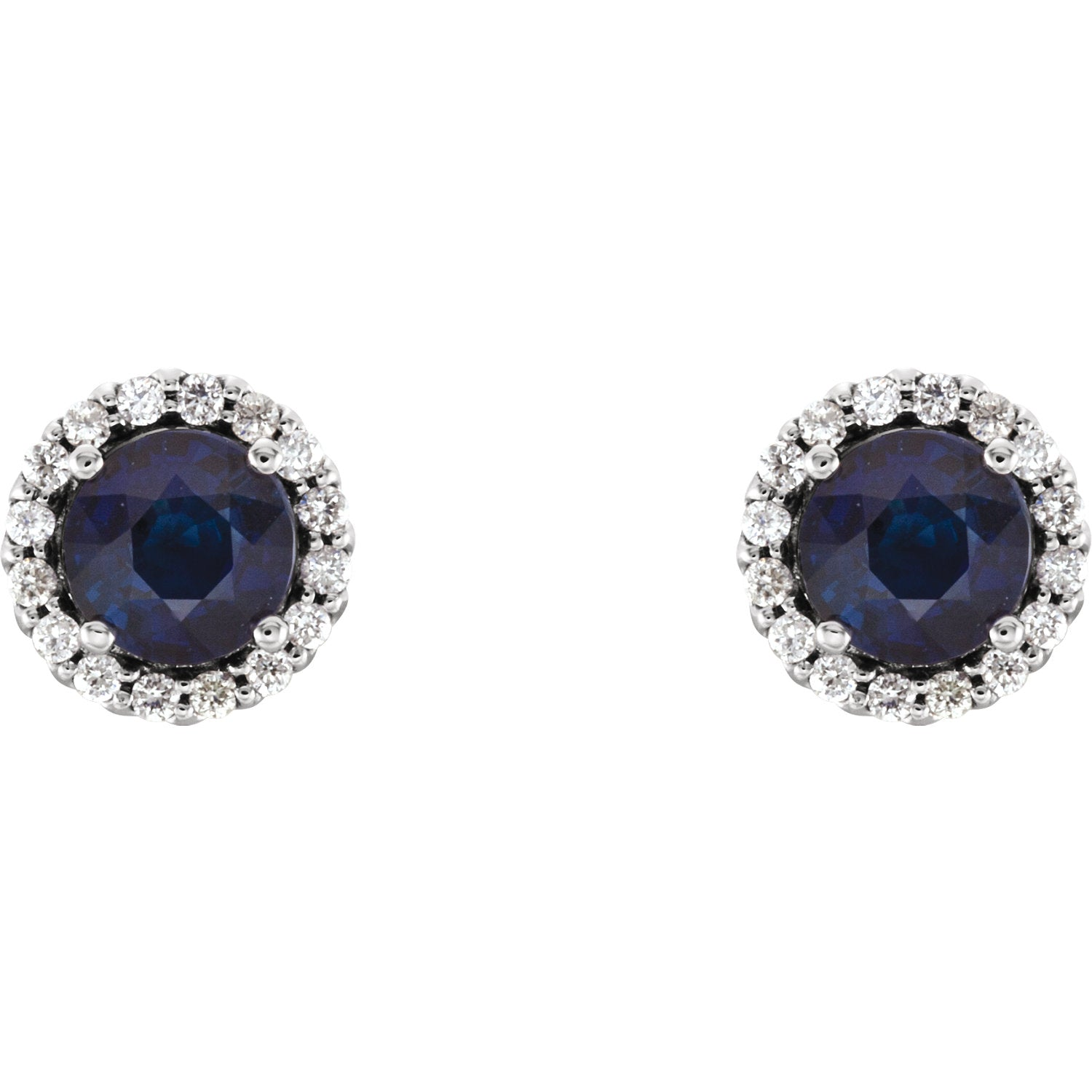 14K White Gold 5MM Blue Sapphire & 1 6 CTW Diamond Earrings Lew Gold