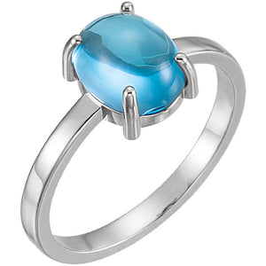 14 Karat White Gold Oval Swiss Blue Topaz Cabochon Ring