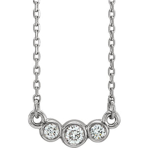 "14K Graduated Bezel Set 1/8 CTW Diamond 16-18"" Adjustable Necklace"