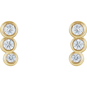 14K Yellow .07 CTW Diamond Petite Ear Climbers