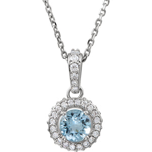 14K White Aquamarine & 1/5 CTW Diamond 18 Inch Necklace