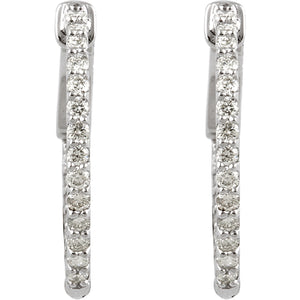 14K White 1/2 CTW Diamond Inside/Outside Hoop Earrings