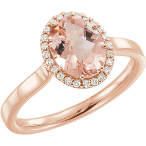 14 Karat Rose Gold Morganite & 1/8 CTW Diamond Ring