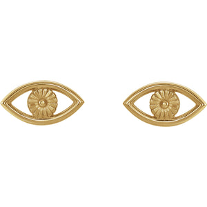 14 Karat Yellow Gold Evil Eye Earrings