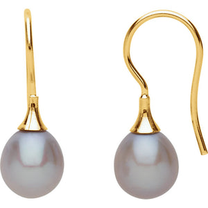 14 Karat Yellow Gold Gray Freshwater Cultured Pearl Earrings