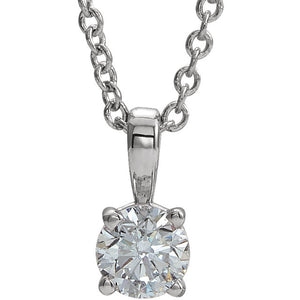14K White Gold 3MM to 6MM Round Diamond Necklace