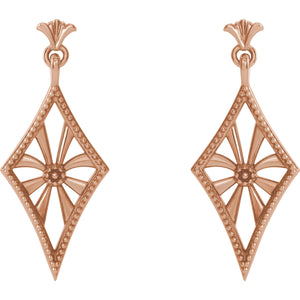 14 Karat Rose Gold Vintage-Inspired Dangle Diamond Shaped Earrings