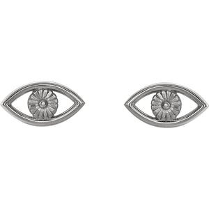14 Karat White Gold Evil Eye Earrings