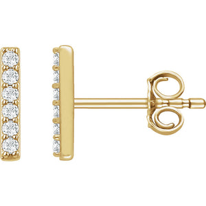 14K Yellow 1/10 CTW Diamond Vertical Bar Earrings
