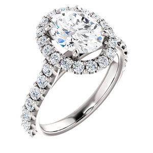 14K White 9x7mm Oval Forever One Moissanite & 3/4 CTW Diamond Engagement Ring