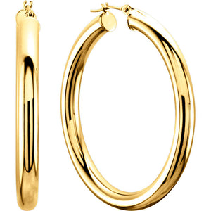 14 Karat Yellow Gold 20 Millimeter Tube Hoop Earrings