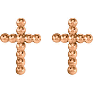 14K Rose Beaded Cross Earrings