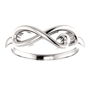 14 Karat White Gold Infinity-Inspired Heart Ring