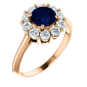 14K Rose Gold Blue Sapphire & 1/2 CTW Diamond Ring