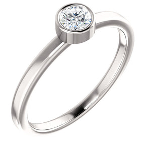 14 Karat White 1/4 CT Diamond Ring