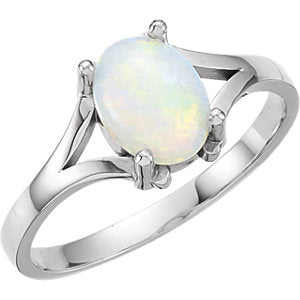 14 Karat White Gold Opal Ring