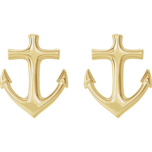 14 Karat Yellow Gold Anchor Earrings