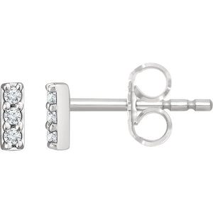 14K White .05 CTW Diamond Bar Earrings