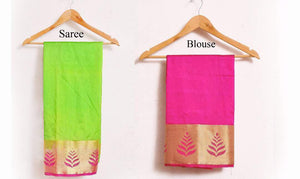 New Launch Awesome Designer Pista Tussar Silk Thread Work Saree