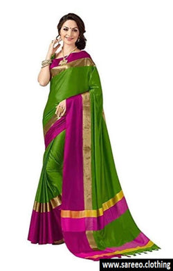 Letest Designer Cotton Silk Green Saree