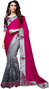 Pink And Grey Embriodered Gorgette Saree