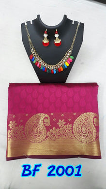 Rani Cotton Silk Kanjivaram Saree With Jewellery
