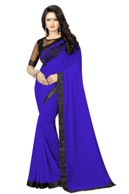 Most Royle Blue Georgette And Silky Net Embroidery Work Blouse Saree