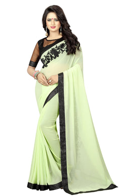 Most Pista Georgette And Silky Net Embroidery Work Blouse Saree