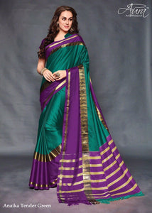 743a19284f5d4 Green Color Pure Silk Jacquard Cotton Blouse Saree