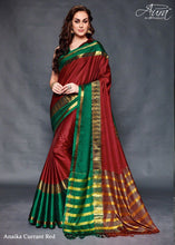 Red Color Pure Silk Jacquard Cotton Blouse Saree