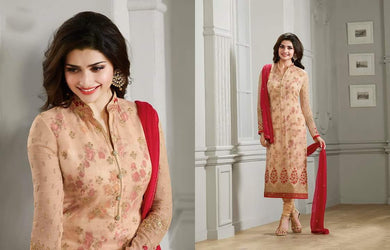 Designer Lightbrown Georgette With Embroidery & Stone Work Suit