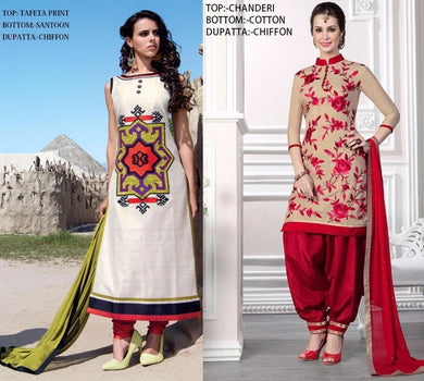 Red Colour Combo 2pic Suit Tafeta Print And Chanderi