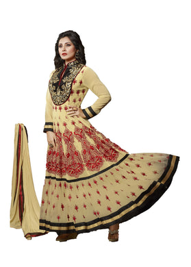 Rimi Sen Khaki Colored Embroidered Georgette Anarkali Suit