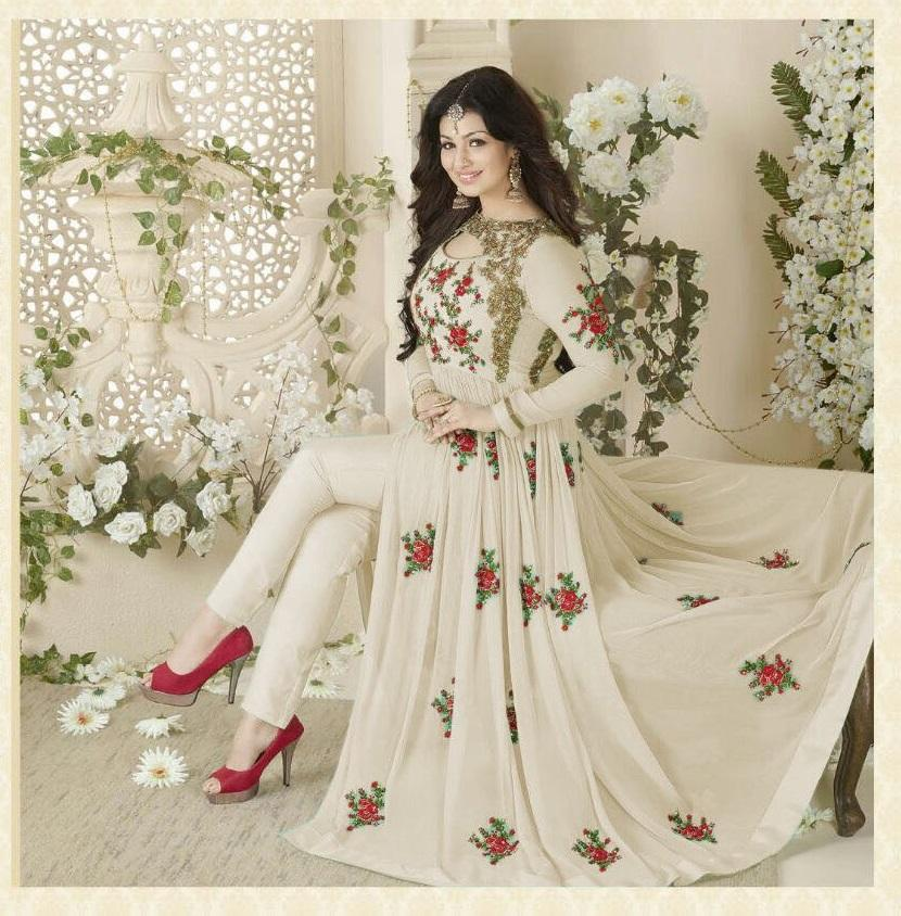 Voguish White Coloured Embroidered Full Sleeve Diamond Work Anarkali Suit