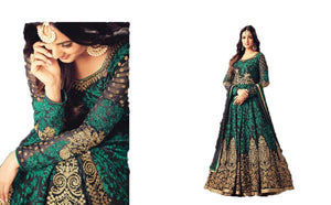 Wonderful Green Colored Chain Stitch Embroidered And Stone Work Anarkali Suit