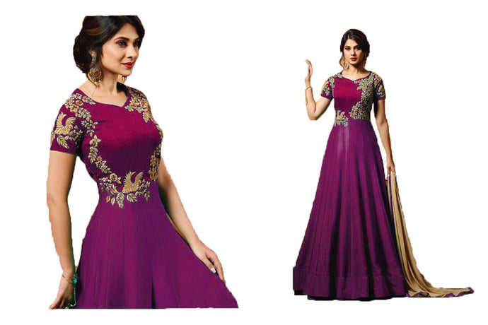 Magnificent Purple Colored Embroidered Banglori Silk Anarkali Salwar Suit