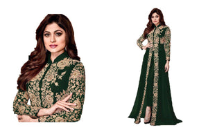 Superb Green Colored Codding Embroidered Worked Georgette Anarkali Salwar Suit