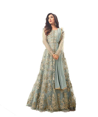 Astounding Sky Blue Colored Heavy Embroidered Worked Net Anarkali Suit