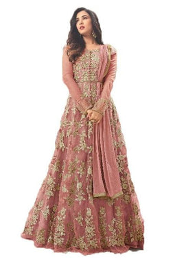 Eyecatchy Salmon Colored Semi-stitched Heavy Net Anarkali Salwar Suit