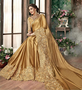 Awesome Designer Golden Color Malai Embroidary  Lace Saree