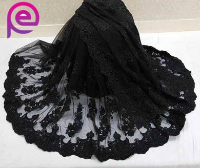 Black Color Bridal Pearl Work Net Thread Work Saree