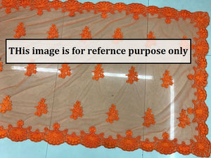 Orange Color Bridal Pearl Work Net Thread Work Saree