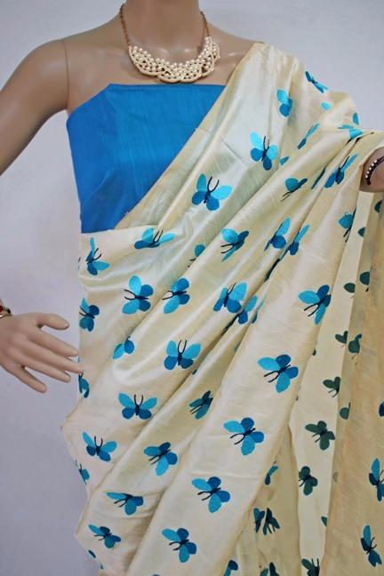 Titli Figure Embroidary Work Cream Color South Silk Designer Saree