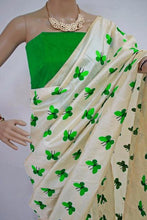 Parrot Colour Titli Figure Embroidary Work Cream Color South Silk Designer Saree